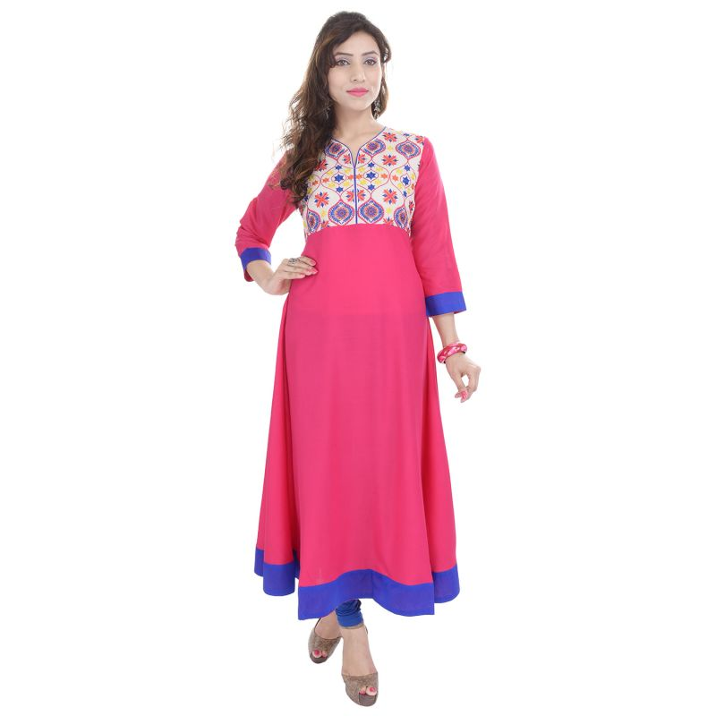 Buy Prakhya Jaipur Embroidered Womens Long A-line Pink Rayon Kurti (code - Sw844pink) online
