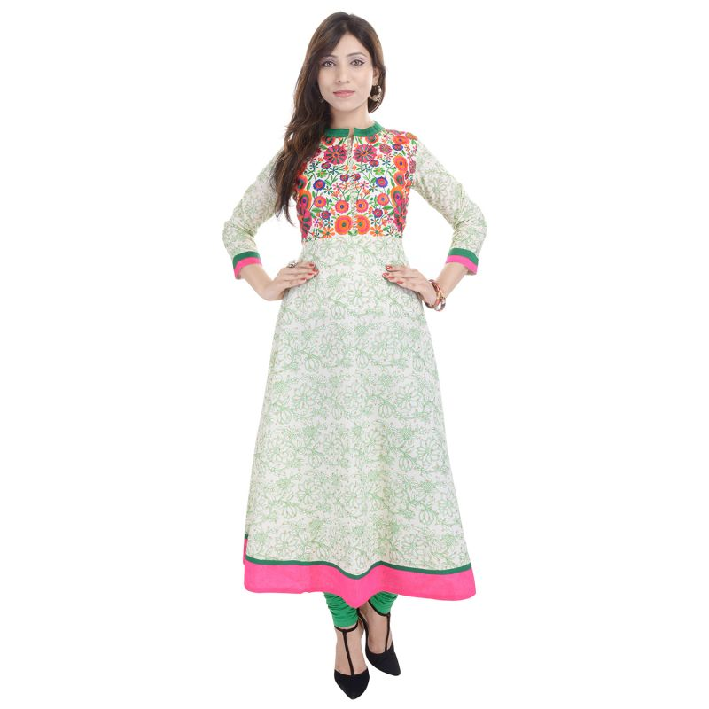 Buy Prakhya Jaipur Embroidered Womens Long A-Line Green Rayon Kurti online