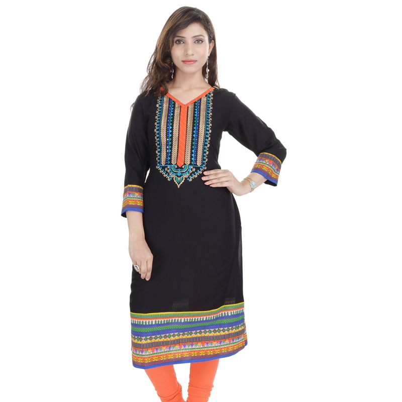 Buy Prakhya Jaipur Embroidered Womens Long Straight Rayon Kurti (code - Sw847black) online