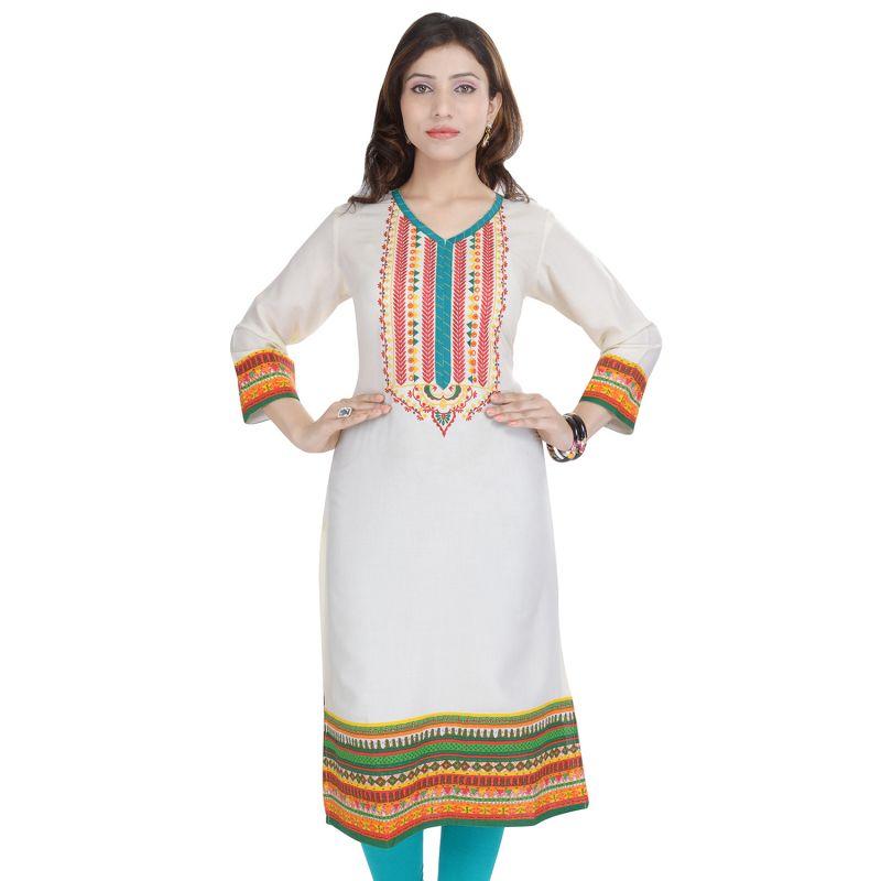 Buy Prakhya Jaipur Embroidered Womens Long Straight Rayon Kurti (code - Sw847white) online