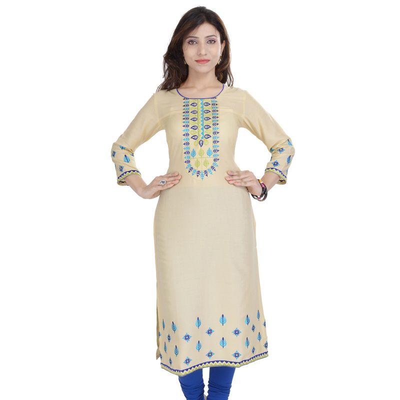 Buy Prakhya Jaipur Embroidered Womens Long Straight Rayon Kurti (code - Sw849white) online