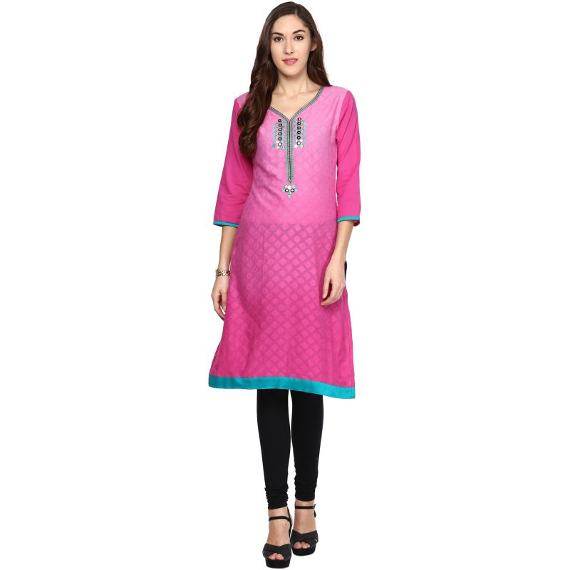 Buy Prakhya Jaipur Printed Womens Long Straight Pink Cotton Kurti online
