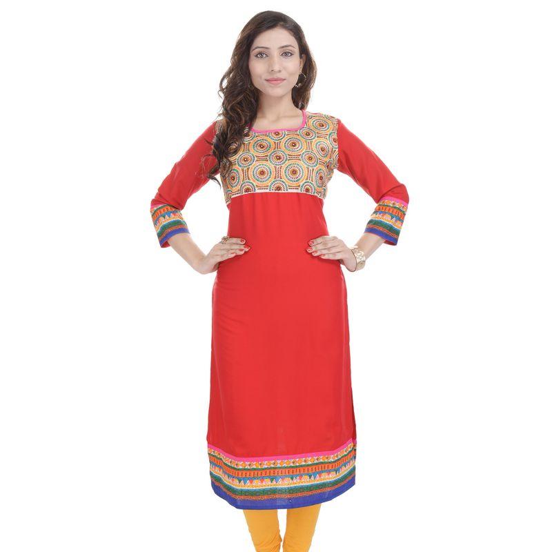 Buy Prakhya Jaipur Embroidered Womens Long Straight Rayon Kurti (code - Sw851red) online