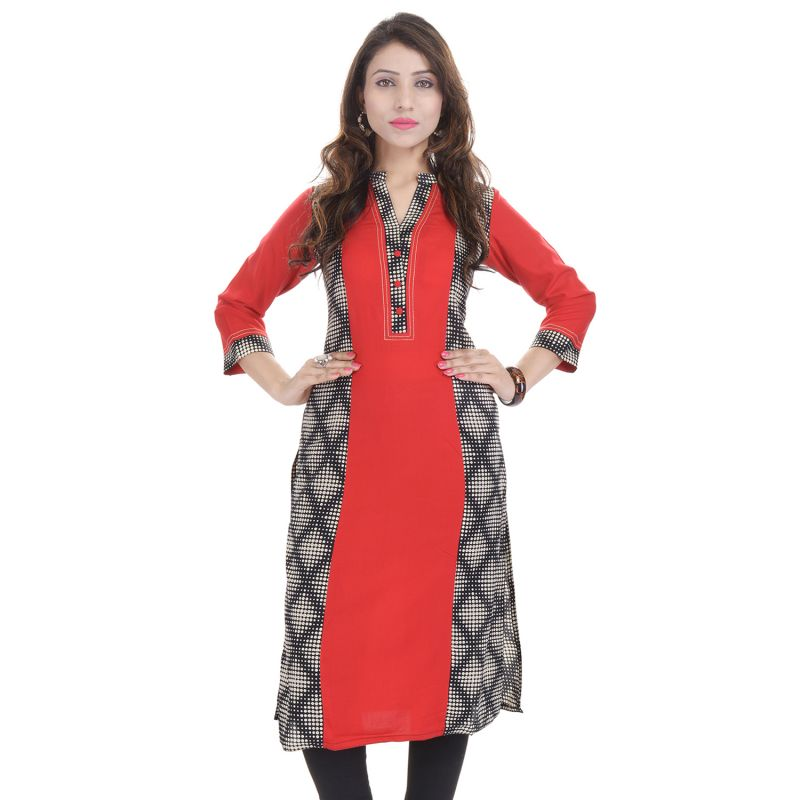 Buy Prakhya Jaipur Printed Womens Long Straight Rayon Kurti (code - Sw852red) online