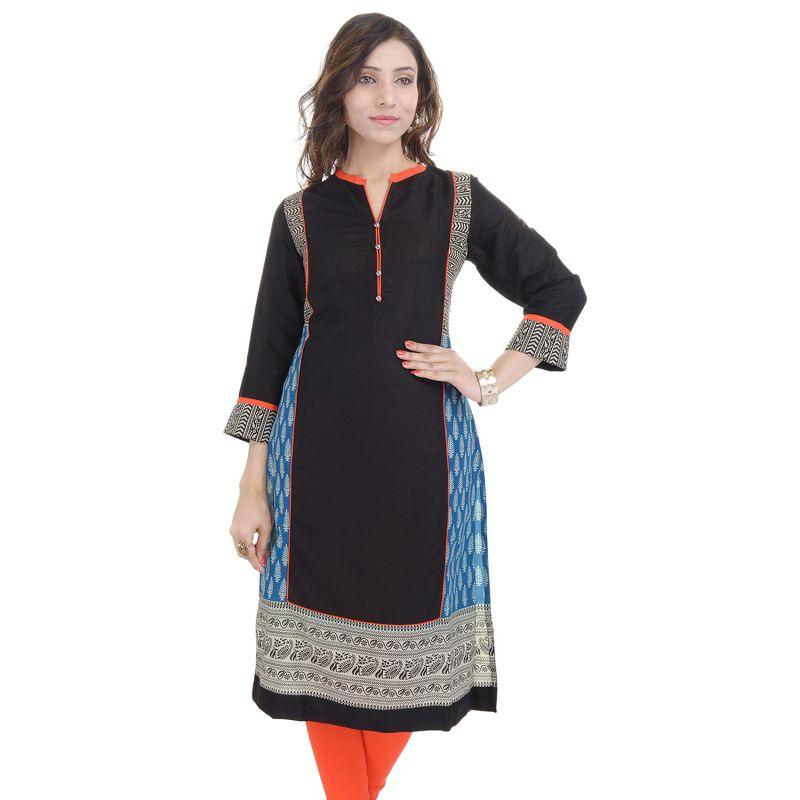 Buy Prakhya Jaipur Printed Womens Long Straight Rayon Kurti (code - Sw857green) online