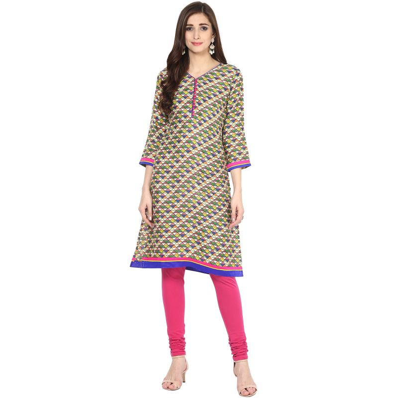Buy Prakhya Jaipur Printed Womens Long Straight Green Cotton Kurti (code - Sw864green) online