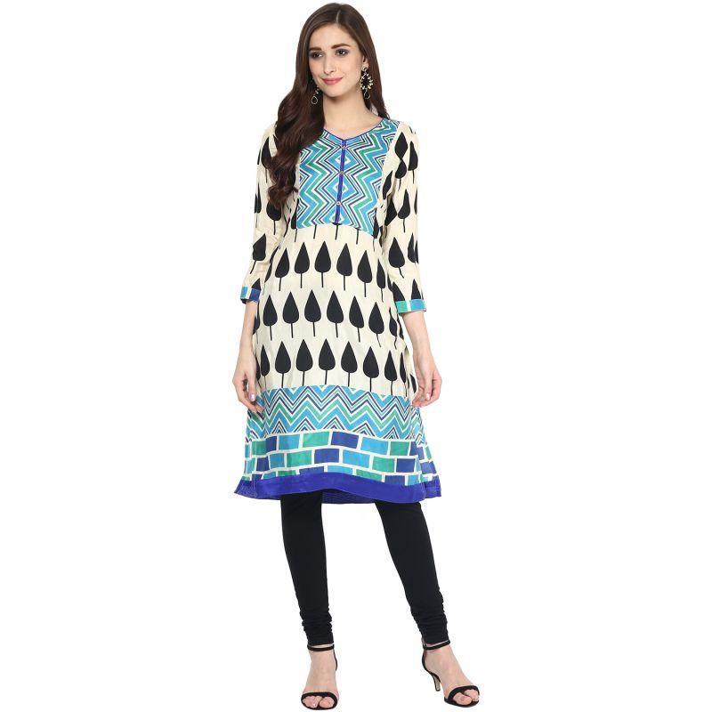 Buy Prakhya Jaipur Printed Womens Long Straight Blue Cotton Kurti (code - Sw865blue) online