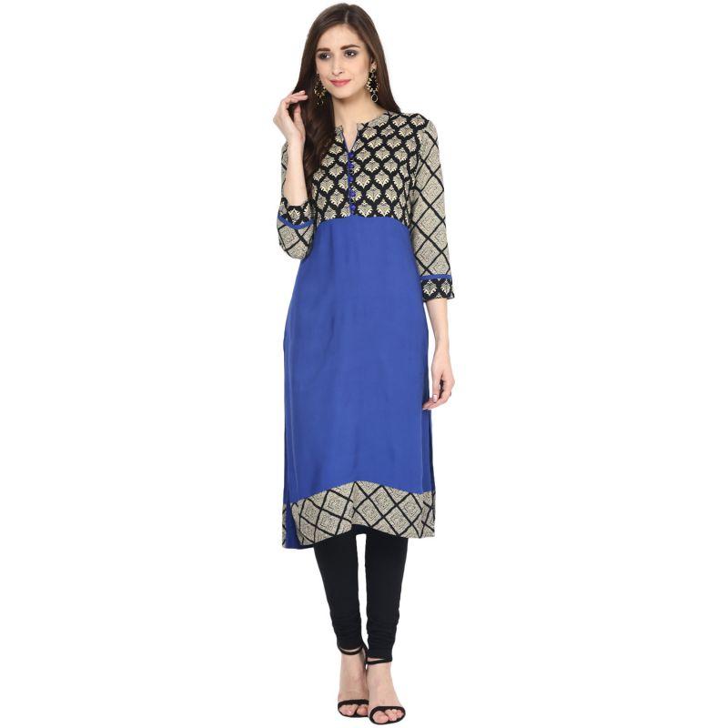 Buy Prakhya Jaipur Printed Womens Long Straight Blue Cotton Kurti (code - Sw866blue) online