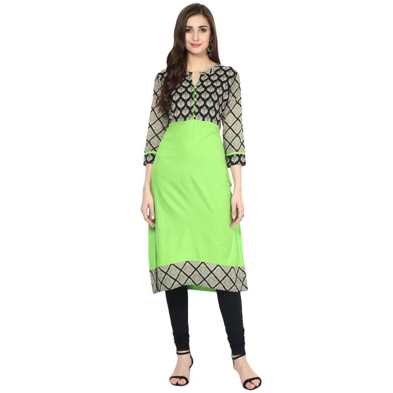 Buy Prakhya Jaipur Printed Womens Long Straight Green Cotton Kurti (code - Sw866green) online