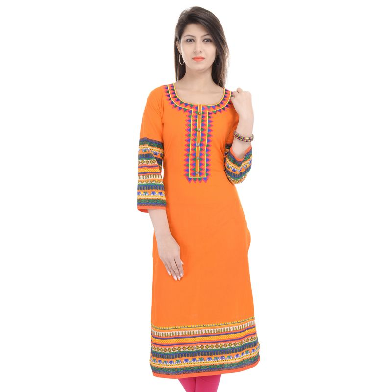 Buy Prakhya Jaipur Embroidered Womens Long Straight Orange Cotton Kurti online