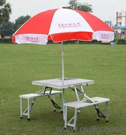 Buy 4 Seats Portable Folding Aluminium Picnic Table With Movable Big Umbrella online
