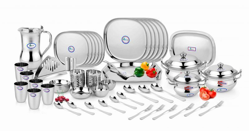 Buy Airan Ruby Square Stainless Steel 60-Piece Dinner Set online
