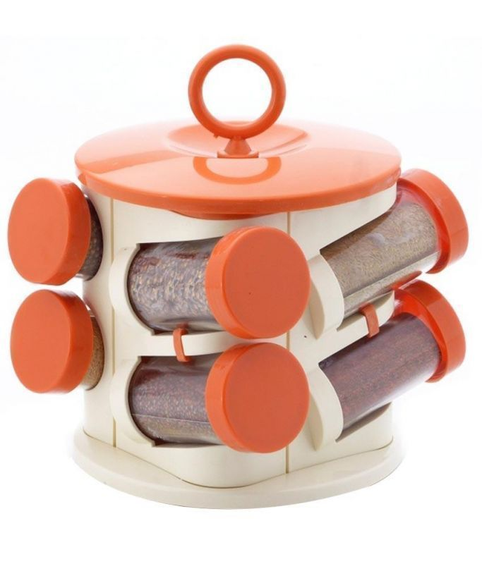 Buy Pogo Designer Revolving Orange Spice Jar Set- 8pcs online