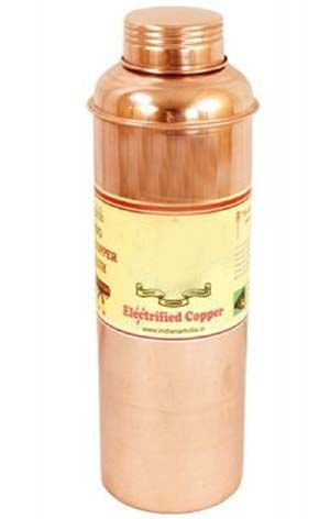 Buy Pure Copper Hammered Bisleri Design 800 Ml Bottle - Storage Water Drinkware Benefit Yoga Ayurveda online