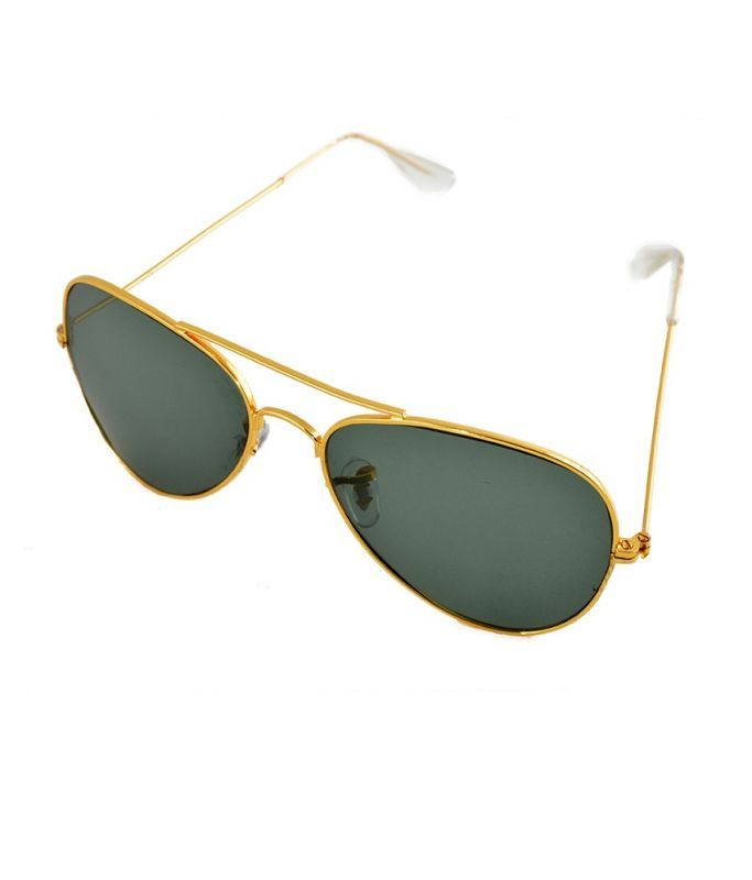 Buy Lime Grey Aviator Look Sunglasses With Golden Frame online