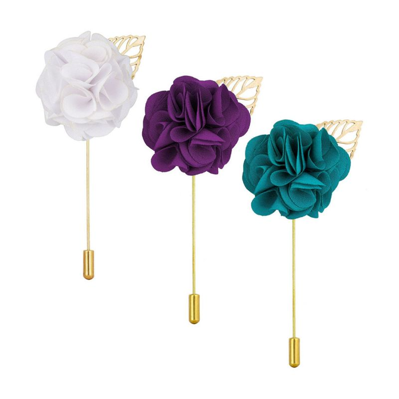 Buy Visach combo of Men party wear Multicolored Flower Brooch / Lapel Pin Boutonniere For Suit online