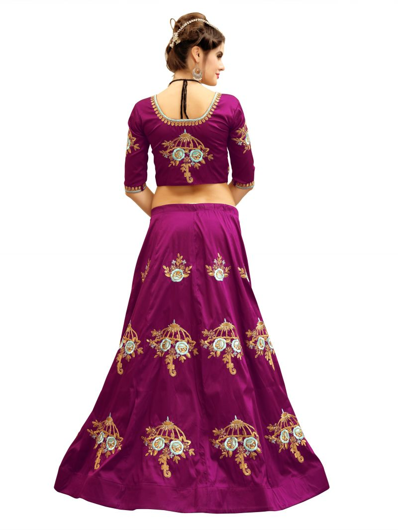1313ca603d Buy Ravechi Fab Purple Heavy Embroidered Umbrella Style Lehenga ...
