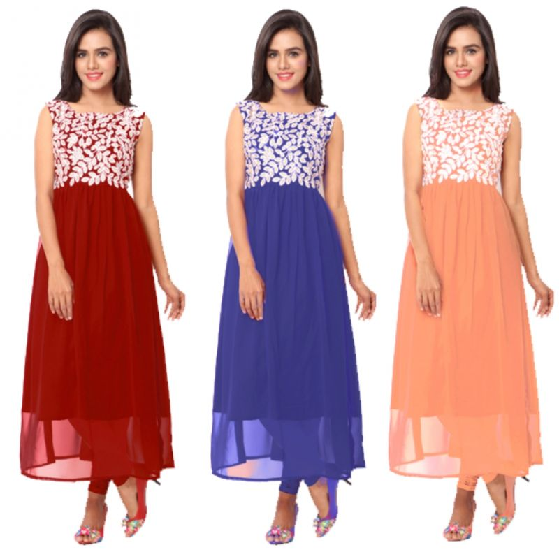 Buy Ravechi Fab Set Of 3 Long Georgette Semi Stitched Kurtis online