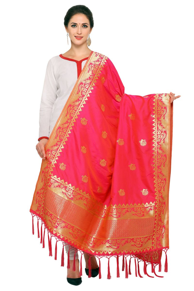 Buy Ravechi Fab Art Silk Banarasi Dupatta With Tassel (code-dp-131920) online