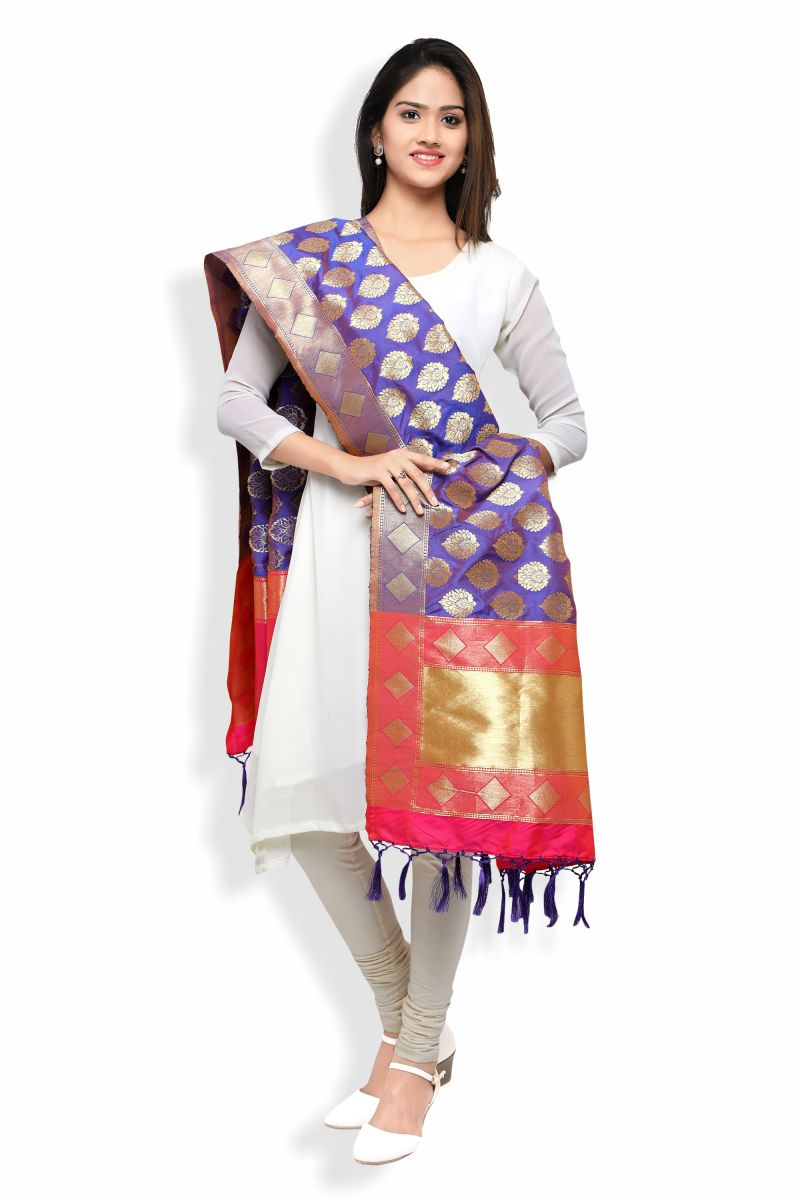 Buy Royal Blue & Pink Banarasi Dupatta With Floral Motifs(rdp-04) online
