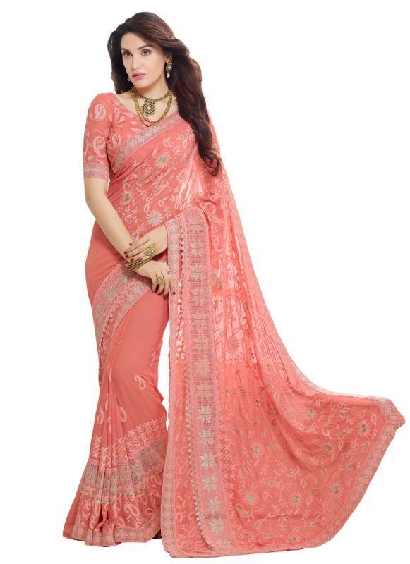 Buy Vandvshop New Peach Nazneen Chiffon Designer Saree-saree330-9004 online