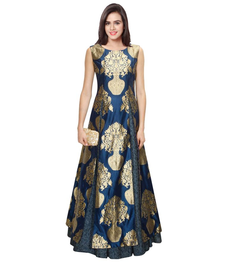 Buy New Navy Blue Jacquard Floral Pot Designer Lahenga By Ravechi online