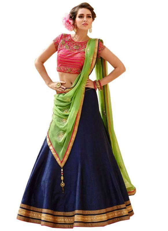 Buy Vandvshop Latest Navy Blue And Red Banglori Silk Lehegha Choli,vnlen158-1001 online