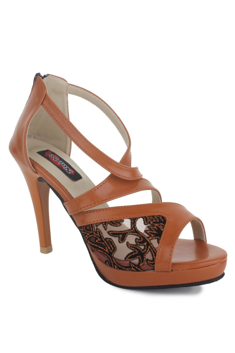 Buy Naisha Women's Synthetic Leather Beige Heeled Sandals (code - Sc-ma-407-beige) online