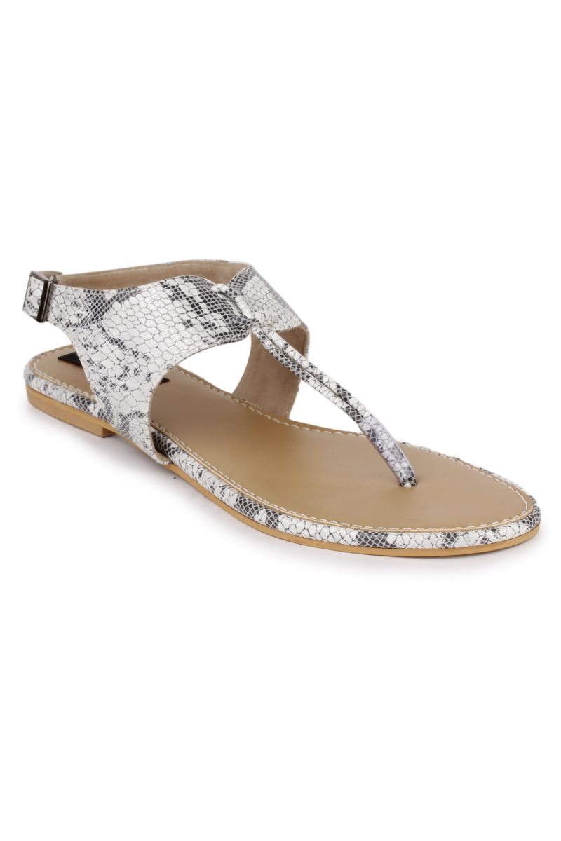 Buy Naisha Women's Synthetic Leather White Flat Sandals (code - Sc-mk-25-white) online