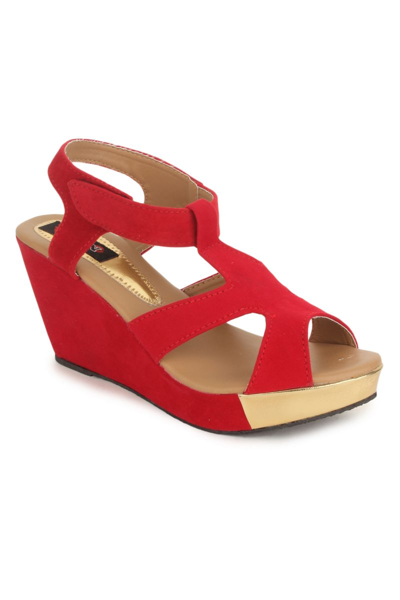 Buy Naisha Women's Synthetic Leather Red Wedges (code - Sc-mq-1120-red) online