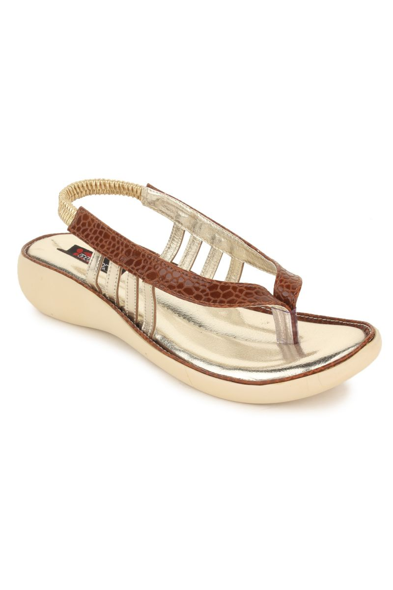 Buy Naisha Women's Synthetic Leather Brown Flat Sandals (code - Sc-nk-302-brown) online