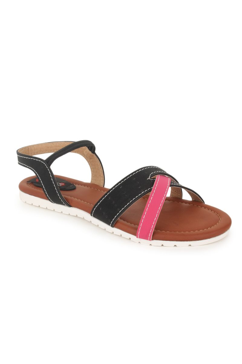 Buy Naisha Women's Synthetic Leather Black Flat Sandals (code - Sc-nk-304-black) online