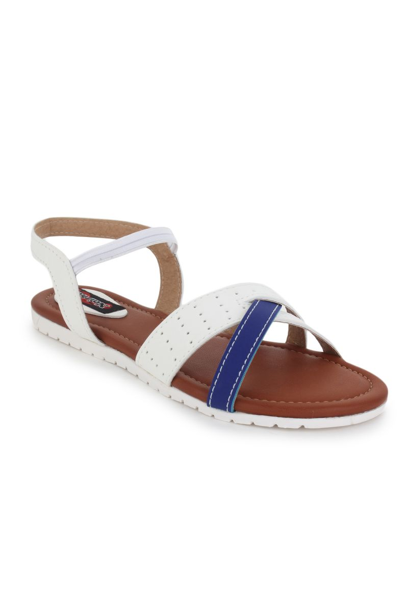 Buy Naisha Women's Synthetic Leather White Flat Sandals (code - Sc-nk-304-white) online