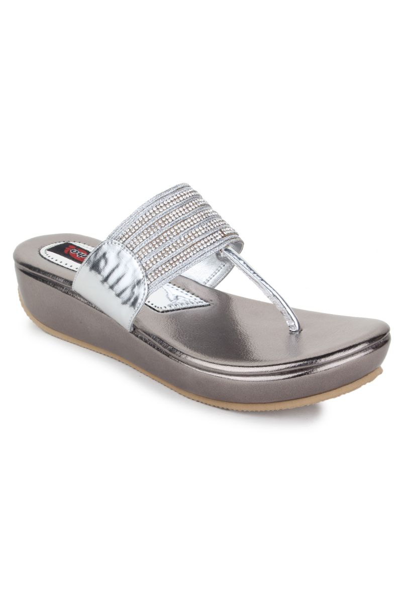 Buy Naisha Women's Synthetic Leather Silver Platform Slippers (code - Sc-pt-183-silver) online