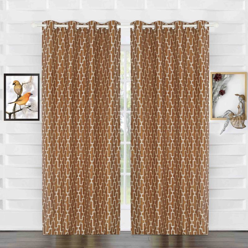 Buy Door Curtain Jacquard Geometric Design Yellow online