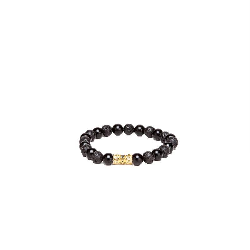 Buy Dapper Homme Black Beads With Golden Cylinderical Design Bracelet For Mens- Dhbr1711 online