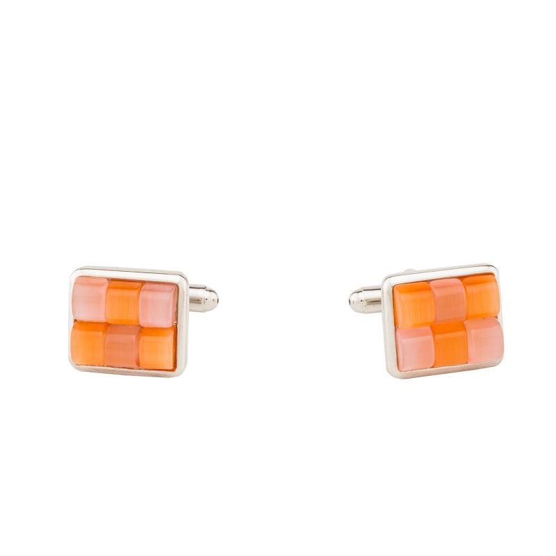 Buy Dapper Homme Self Design Orange Color Cufflinks For Men online