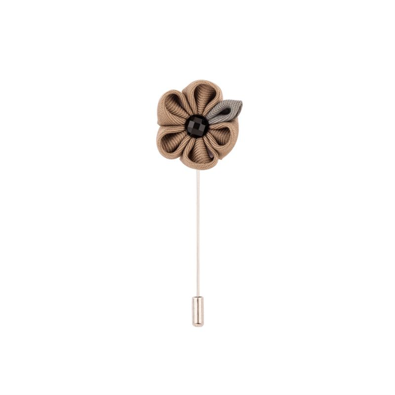 Buy Dapper Homme Brown Flower With Grey Petal  Lapel Pin online
