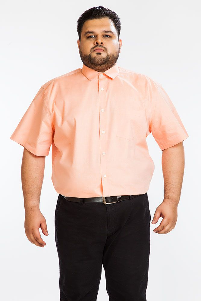 Buy Dapper Homme Orange Color Egyptian Cotton Plus Sized Shirt For Men online