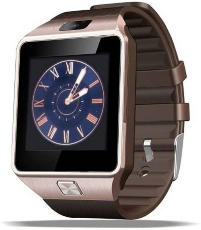 Buy Dz09 Sim Card And Memory Cards Supported Bluetooth Smart Watch Android And Ios Series Gold Smartwatch (brown Strap) online