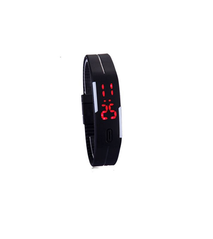 Buy LED Jelly Slim Digital Trendy Watch Black online