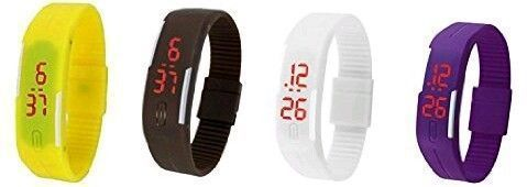 Buy Pack Of 4color Yellow Brown White Purple LED Digital Watches For Men And Women online
