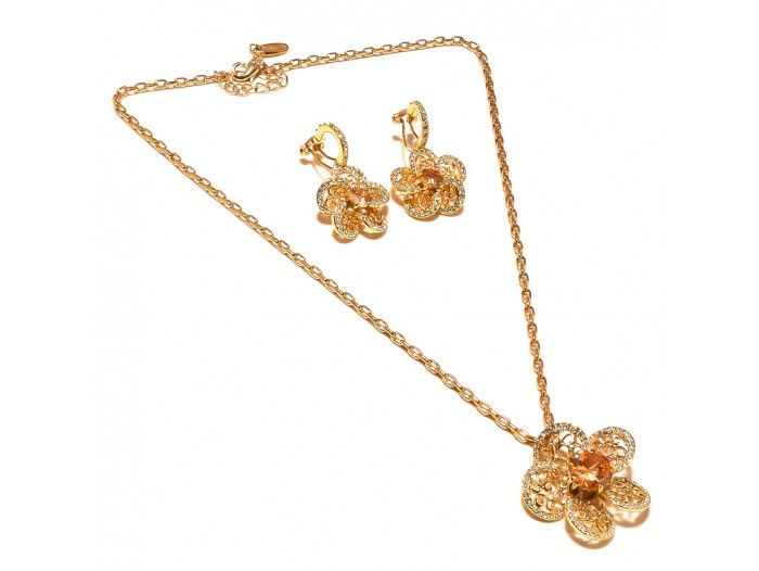 Buy Sanaa Creations Flower Shape Cz Earring & Pendant Link Chain Gold Plated Set online