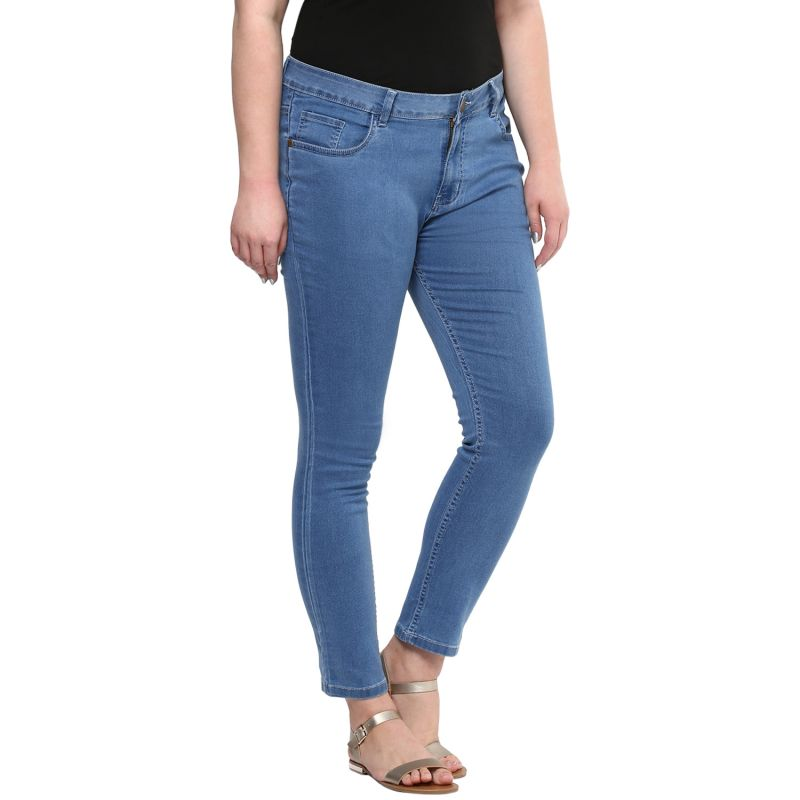 Zush Blue Color Mid Rise Plus Sized Women S Cotton Jeans Online Best Prices In India Rediff Ping