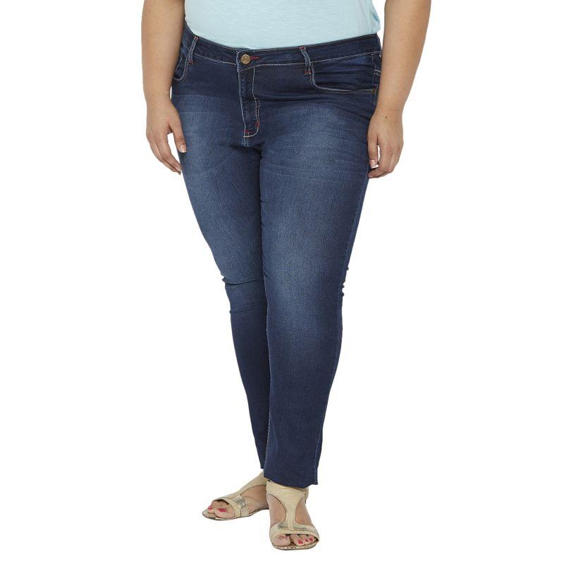Buy Zush Mid Rise Regular Fit Blue Color Cotton Blend Plus Sized Jeans For Womens Zu1030 online