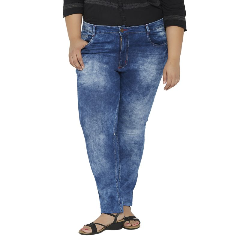 Buy Zush Mid Rise Regular Fit Blue Color Cotton Blend Plus Sized Jeans For Womens Zu1022 online