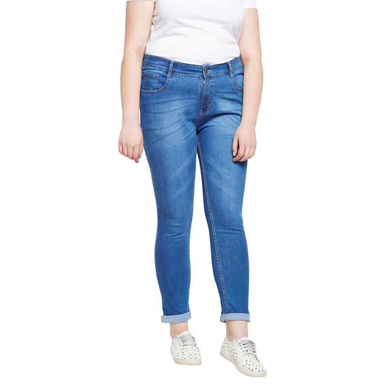 Buy Zush Stretchable Regular Fit Medium Blue Cotton Blend Plus Size Denim Jeans For Women(code-zu1085) online