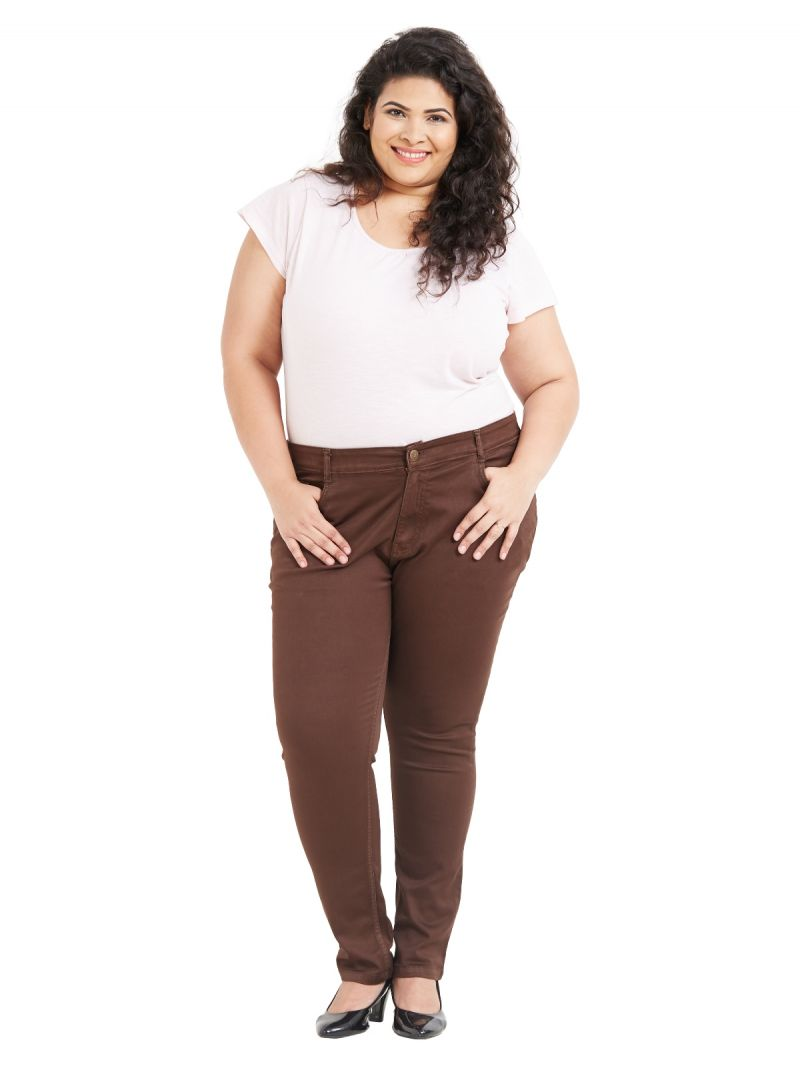 Buy ZUSH Mid Rise Regular Fit Brown Color Cotton Blend Fabric Plus Sized Pant For Womens online
