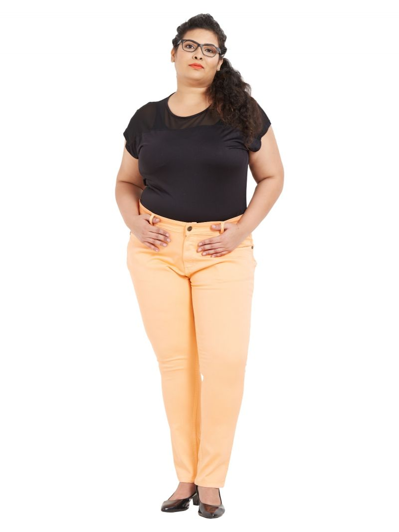 Buy ZUSH Mid Rise Regular Fit Orange Color Cotton Blend Fabric Plus Sized Pant For Womens online