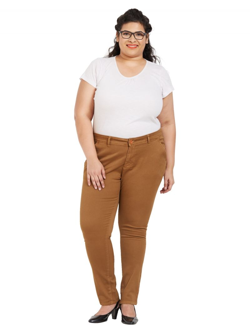 Buy ZUSH Mid Rise Regular Fit Tobacco Color Cotton Blend Fabric Plus Sized Formal Pant For Womens online